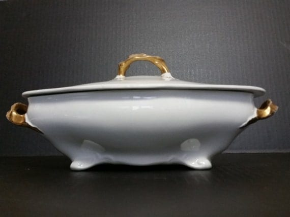 Vintage Lidded Dish White China Footed Bowl Wilson & Sons England Royal Semi-Porcelain