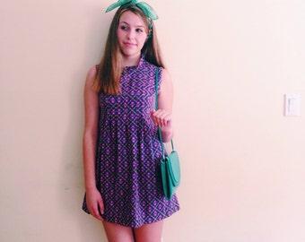 Vintage Mod Floral Scooter Dress / Purple Go Go Dress /  Shift Ruffle Collar Mini Dress / 1960s