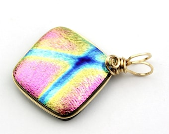 Pink, Gold, and Blue Dichroic Pendant, Gold Filled Wire Wrapped