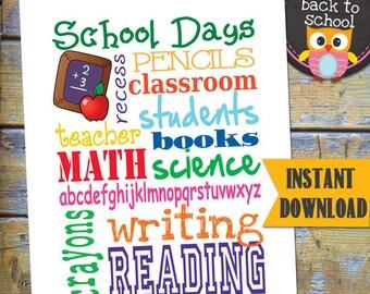 School Days Instant Download / Printable SUBWAY Art / DESIGN miniPOSTERS / DIY Printable / #BackToSchool #Printable