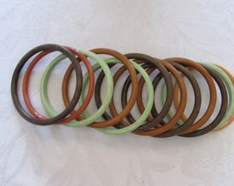 12 Vintage 60's BANGLE BRACELETS Multi-colors