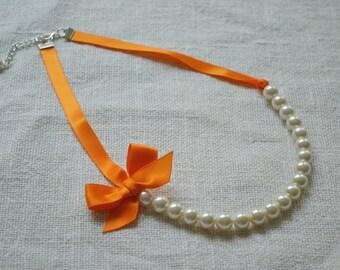 Sophia: Beautiful Bride or Bridesmaid Pearl Necklace - Ivory Pearls and Tangerine Orange Ribbon - Clasp Closure