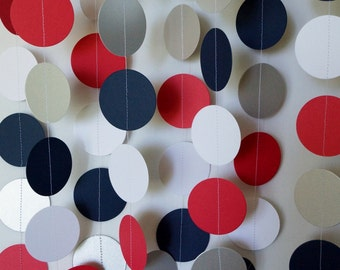 Fourth of July Garland, Red White Blue Silver Patriotic Decoration, Paper Circle Garland, 4th of July Decor, Birthday Party, 10 ft. long
