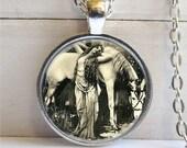 Vintage Beauty Art Pendant, Woman WIth Horse, Vintage Photo Pendant