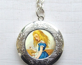 Alice In Wonderland Locket, Alice Jewelry, Locket Necklace, Photo Locket
