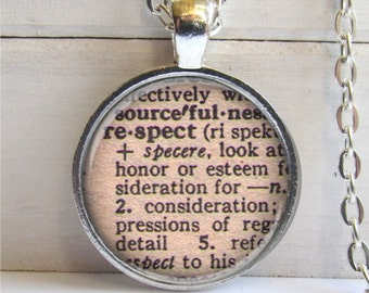 Respect Pendant, Vintage Dictionary Definition, Affirmation Necklace, Word Jewelry