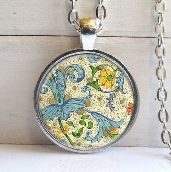 Florentine Art Pendant, Pretty Floral Pattern Necklace, Blue And Yellow Charm Necklace
