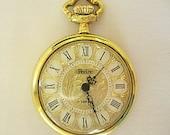 Pedre Pocket Watch Vintage Wind Up 17 Jewels Works Florentine Finish Ornate Leaf Leaves Vine Design Gold Tone Metal Fully Functional Working