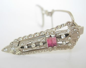 Art Deco Lorgnette Silver Tone Metal Clear & Fuchsia Baguette Paste Stones France Vintage Spring-Loaded Folding Eyeglasses Ornate Adorned