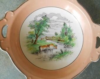 Vintage Dish Hand Painted Noritake Pastoral Scene