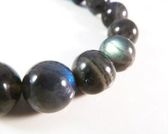 Labradorite Stretch Bracelet 10mm Natural Smooth Polished Round Bead Bracelet