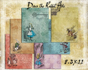 Digital Paper Pack Down the Rabbit Hole 8.5x11 Alice in Wonderland downloadable printables