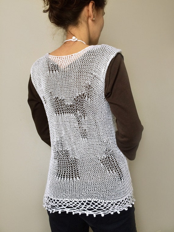 Knitting Summer Tunic : Knitted summer tunic vest beach by