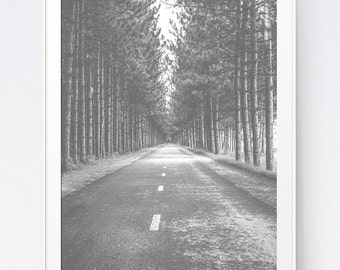 Road Photography, Landscape Digital Print, Black and White Artwork, Forest Wall Home Decor Photography, Printable Wall Art, INSTANT DOWNLOAD