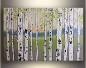 "Birch Tree Painting, 24""x36"" ORIGINAL Art Oil Painting landscape Painting by Tatjana Landscape Oil Painting Original Wall Art Green Painting"