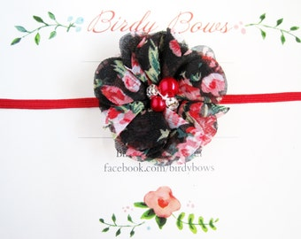Black Floral Baby Headband, Baby Headbands, Newborn Headbands, Baby Girl Headbands, Infant Headbands, Baby Bows