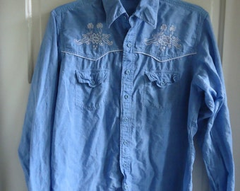 Vintage 80s PIER CONNECTION Indian Cotton Embroidered Chambray Shirt sz S/M