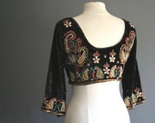 70s Indian Embroidered & Beaded Top