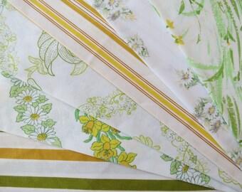6 Vintage Sheet Fat Quarter Bundle - Reclaimed FQs in Yellows & Greens