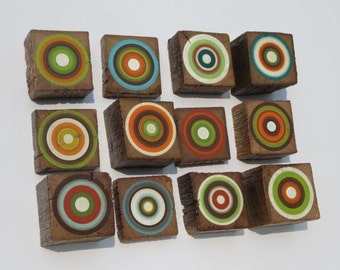 Painted Wood Wall Art  - Made from Reclaimed Beams - Set of 12 (12BTB1)