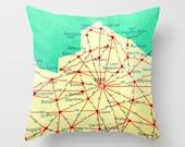 Paris Pillow, Paris Bedding, PARIS Map Pillow,  Paris Decor, Decorative Pillow, vintage France Map, Travel Gift, Travel Pillow, Map Pillow