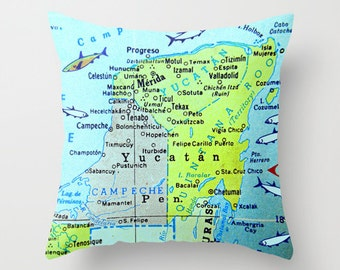 Yucatan map pillow cover, Map Pillow, Mexico Pillow,  Merida map, Cozumel Map Pillow, Honeymoon Gift, Home Decor Decorative Throw Pillow