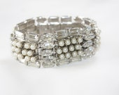 Vintage Rhinesone Bracelet Chunky Pearl Wedding Bridal Jewelry 1950s