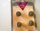 Vintage Buttons Le Chic Gold Metal Filigree Carded 1970s Fashion Buttons Set of 4