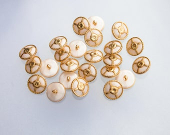 """12 Vintage 5/8"""" Plastic Shank Buttons. Pearlized White and Gold. Nautical Wheel Design. Decorative Gold Edge and Center. Item 3508P"""