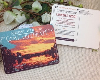 Dramatic Sunset over Lake Save The Date Postcard: Get Started Deposit or DIY Payment