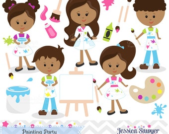 INSTANT DOWNLOAD,  dark skin tones painting clipart or art class clip art for an art party - personal or commercial use