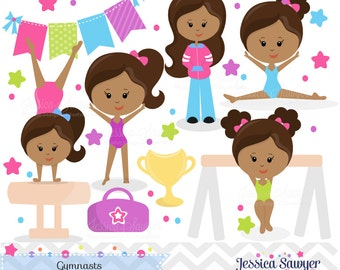INSTANT DOWNLOAD, Dark Skin Tones Gymnastics Clipart, Tumbling Clipart for personal or commercial use