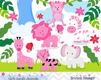INSTANT DOWNLOAD,  girls Jungle Animal Clipart and Vectors for Jungle Party. Personal and Commercial Use