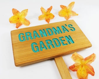 Grandma's Garden, Cedar Wood Sign: Hand Routed, Personalized Garden Sign, Custom Name