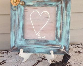 Distressed Green Square Framed Heart Painting - Embellished Frame - Valentine's Day