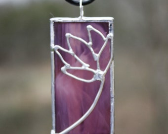 Handcrafted Necklace Purple Stained Glass Pendant with Lotus Blossom Design Original Jewelry