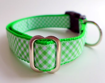 Green and White Dog Collar Checks Checkered Green Plaid Martingale or Buckle Made to Order Irish Collars