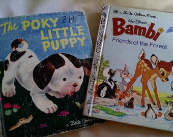 Two Classic Little Golden Books, The Poky Little Puppy and Bambi