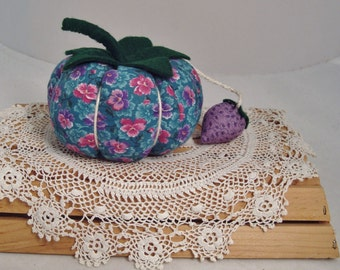 Calico Tomato Pincushion with Purple Strawberry Accent