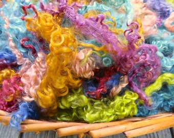 Dyed Mohair Locks, 2 Ounces, Spin, Felt, Fleece, Southwest, Doll Hair, Taos Market