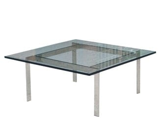 Chrome & Glass Coffee Table in the style of Milo Baughman
