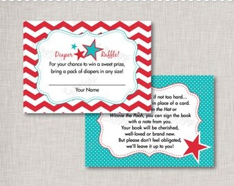 Book Request and Diaper Raffle Baby Shower Insert Cards INSTANT DOWNLOAD