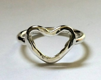 Sterling silver jewelry toe ring midi ring heart jewelry fitted toe ring jewelry gift