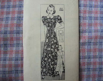 vintage 1940s Anne Adams sewing pattern 4960 Uncut dress  size 16 bust 34