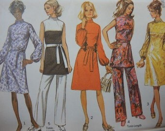 vintage 1970s simplicity sewing pattern 9125 dress or tunic and pants size 10 uncut