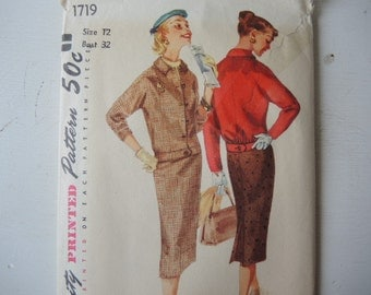 Vintage 1950s Simplicity sewing pattern 1719 Misses two piece suit size 12
