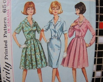 vintage 1960s Simplicity sewing pattern 5848 one piece dress with two skirts size 14