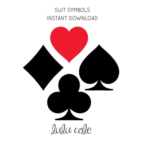 Card Suit Symbols Instant Download Heart Club Spade Diamond