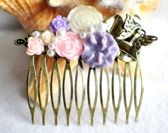 Flower hair comb in lavender, pink and cream with butterfly and leaf, wedding hair comb with resin flowers.