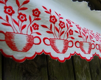 1.52 Mtrs of Antique French Traditional Red & White Embroidered Motif Shelf Trim-Jardinere and Blooms